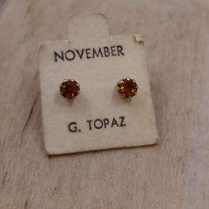 Vintage November Birthstone Golden Topaz Earrings